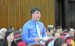Đại biểu Nguyễn Cao Sơn phát biểu thảo luận tại hội trường.